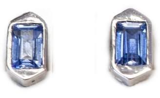 Ri Noor - Hexagon Stud Earrings With Blue Sapphires