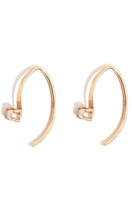 Women's Melissa Joy Manning 'Mini Wishbone' Pearl Hoop Earrings $225 thestylecure.com