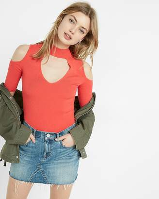 Express Ribbed Cold Shoulder Cut-Out Choker Sweater