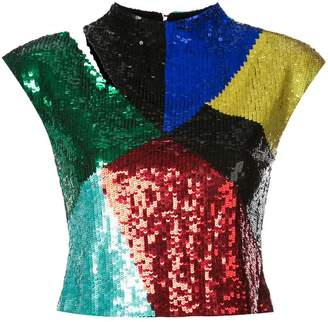 Alice + Olivia Alice+Olivia cut-out detail sequined top