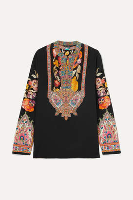 Etro Printed Twill-trimmed Silk-crepe Blouse - Black