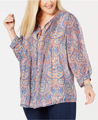 Tommy Hilfiger Plus Size Paisley-Print Pintucked Top
