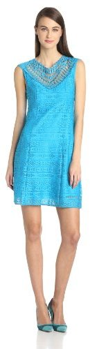 Nanette Lepore Women's Sunrise Lace and Emboroidered Neck Detail Sheath Dress