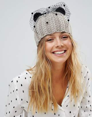 Helene Berman Knit Cat Ear Hat with Half Veil