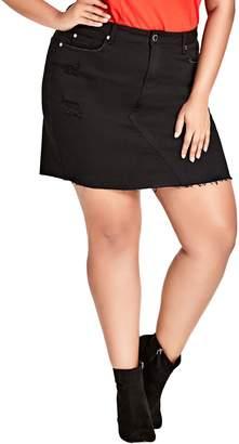 City Chic Shredded Denim Skirt