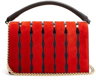 Diane von Furstenberg Soirée wave-appliqué leather cross-body bag