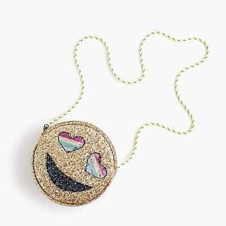 J.Crew Girls' glitter emoji bag with reversible-sequin heart eyes