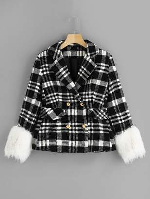 Shein Faux Fur Cuff Double Breasted Plaid Coat