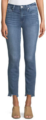Paige Hoxton Straight-Leg Ankle Jeans w/ Fray Hem