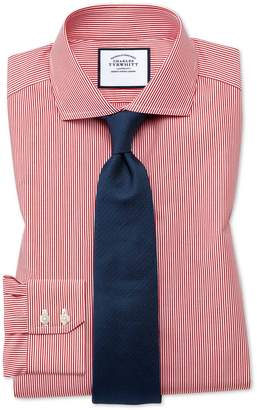 Charles Tyrwhitt Extra Slim Fit Spread Collar Non-Iron Bengal Stripe Red Cotton Dress Shirt Single Cuff Size 15/33