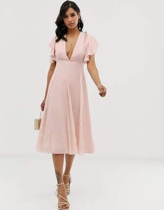 Asos Design DESIGN midi dress with lace godet panels