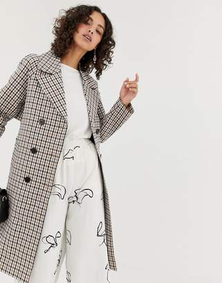 Selected check trench coat
