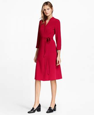 Brooks Brothers Matte Satin Wrap Dress