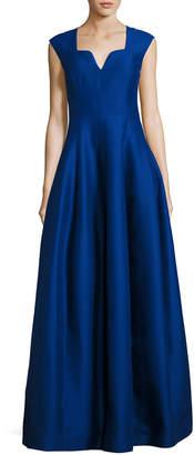Halston Cap-Sleeve Geo-Neck A-Line Structured Evening Gown