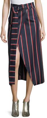 SOLACE London Apolline Striped Midi Wrap Skirt