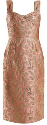 Prada Sweetheart Neck Floral Brocade Dress - Womens - Light Pink