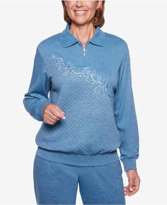 Alfred Dunner At Ease Embellished Quarter-Zip Sweatshirt