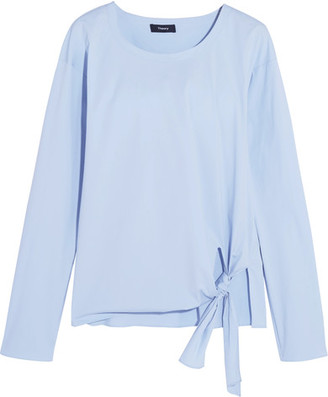 Theory - Serah Tie-front Cotton-blend Poplin Top - Light blue $245 thestylecure.com