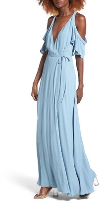 Women's Privacy Please Acme Off The Shoulder Wrap Maxi Dress $228 thestylecure.com