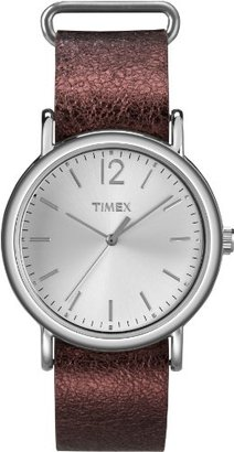 Timex Women's T2P3419J Weekender Metallic Oxblood Slip-Thru Leather Strap Watch $29.99 thestylecure.com