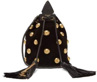 Saint Laurent Anja Studded Velvet Bucket Bag - Womens - Black Gold