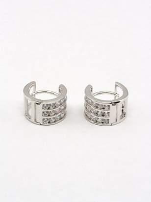 Fashion Design Triple Row Cubic Zirconia Cz Hoop Earrings