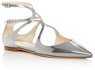 Jimmy Choo Women's Lancer Patent Leather Ankle Strap Flats