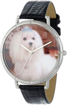 Whimsical Watches Women's T0130051 Maltese Black Leather And Silvertone Photo Watch
