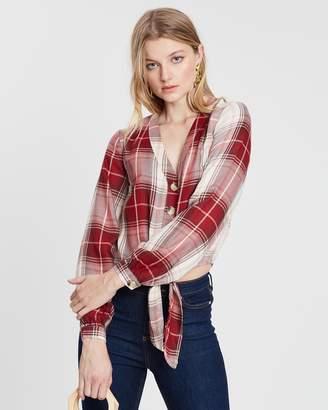 Miss Selfridge Check Tie Front Shirt