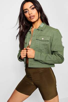 boohoo Cropped Slim Fit Denim Jacket