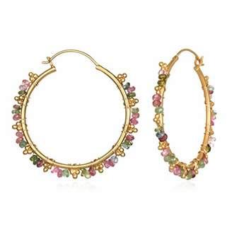 Satya Jewelry Women's Tourmaline Gold Wrap Hoop Earrings