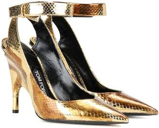 Tom Ford Metallic snakeskin pumps