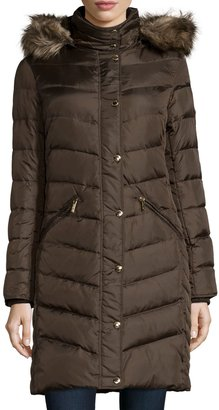 MICHAEL Michael Kors Long-Sleeve Chevron Quilted Puffer Jacket w/Faux-Fur Trim, Bark $157.25 thestylecure.com
