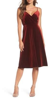 Ali & Jay Sleeveless Velvet Faux Wrap Midi Dress