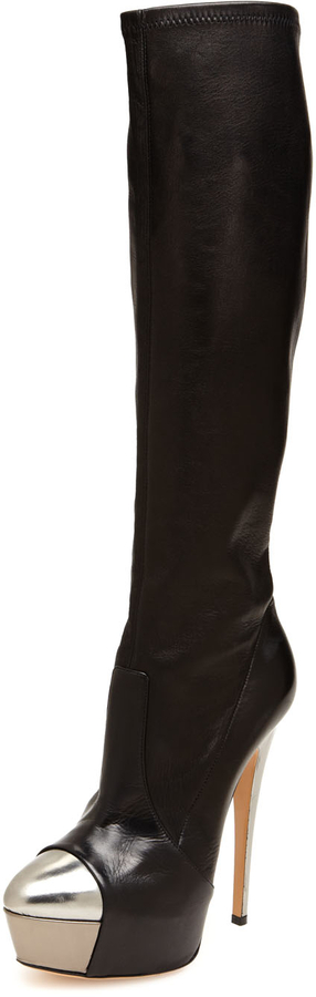 Casadei Metallic Cap Toe Platform Boot