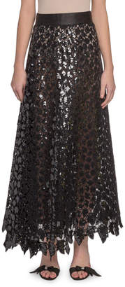 Marc Jacobs Sequined Leaf Lace Midi Skirt