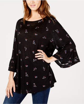 Lucky Brand Embroidered Flutter-Sleeve Top