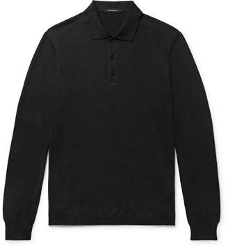 Ermenegildo Zegna Knitted Cotton and Cashmere-Blend Polo Shirt - Men - Dark gray