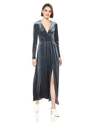 AVEC LES FILLES Women's Long Sleeve Sequin Velvet Maxi Dress