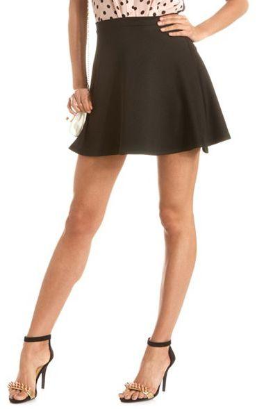 Charlotte Russe Solid Scuba Skater Skirt