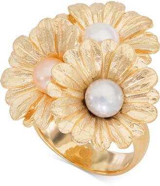 Giani Bernini Cultured Pearl (6mm) Daisy Ring in 18k Gold-Plated Sterling Silver
