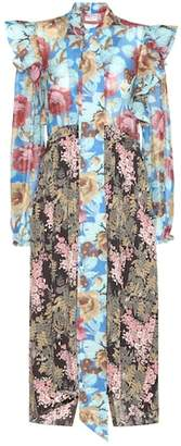 Balenciaga Pleated floral-printed silk dress