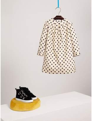 Burberry Spot Print Cotton Silk A-line Dress