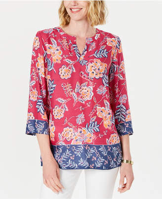 Charter Club Petite Double-Floral Printed Tunic