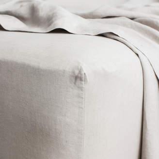 Lulu & Georgia Cultiver Linen Bedding, Smoke Grey Fitted Sheet