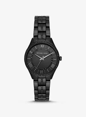 b4bc87fb0285 Michael Kors Lauryn Pave Black-Tone Watch