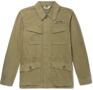 Aspesi Logo-Appliquéd Cotton-Twill Field Jacket