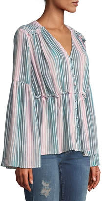 Catherine Malandrino Striped Bell-Sleeve Button-Down Blouse