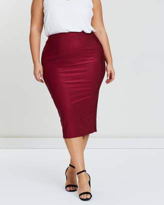 Ribbed Velvet Midi Skirt