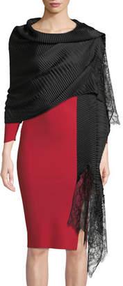 Valentino Silk Plisse Lace-Trim Stole